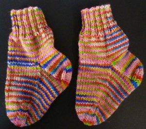 Socken gestrickt rosa-bunt